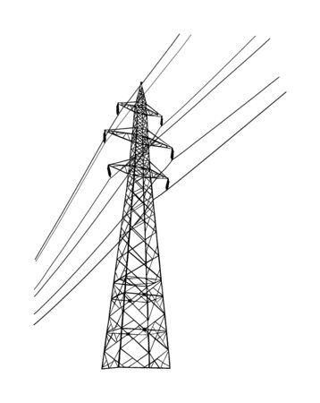 Silueta de vector de torre de transmisión eléctrica de línea de alta tensión aislada en blanco. Consumo, producción y distribución de electricidad. Poste de torre eléctrica con cables. Ilustración de vector