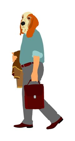 Elegant senior man with dog head vector illustration isolated on white. Basset hound mask over manager face. Businessman in suite, suitcase walking. Tired mature man with dog face go home after work.