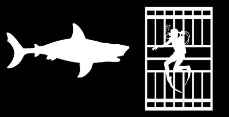 Diver in diving cage observing a great white shark vector silhouette isolated. Swimming biology research. Brave explorer against shark under water. Scary scene in marine wildlife. Help for swimmers. Vector Illustration