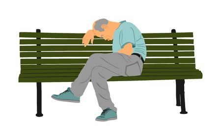 Samotny stary człowiek siedzi i śpi na ławce w parku wektor. Zmartwiona starsza osoba. Zdesperowany emeryt patrzący w dół. Marzenia, bez nadziei. Emeryt myśli o życiu. Problemy alzheimerów starczych.