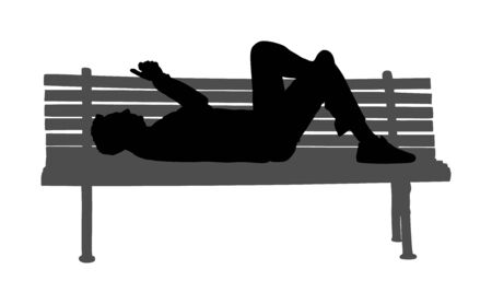 Relaxed lazy man lying down on bench in park with mobile phone vector silhouette. Tired boy on pause after job. Outdoor enjoy in rest. Urban lazy boy ordering fast food by smart phone application.