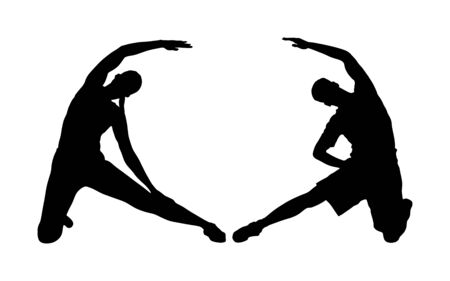 Fitness couple, woman and man exercise on training in gym vector silhouette. Losing weight bodybuilder. Personal trainer instructor workout. Fit sport lady. Handsome girl and boy stretching worming up