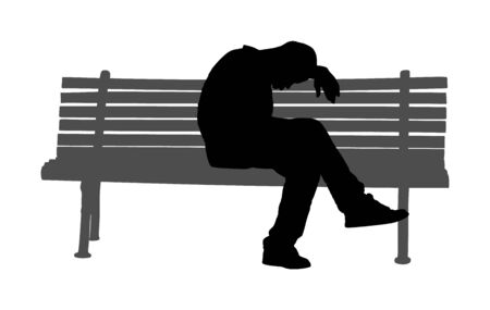 Lonely old tired man sitting and sleeping on bench in park vector silhouette. Worried senior person. Desperate retiree. Daydreaming,no hope. Pensioner thinking about life. Senility alzheimers trouble. Ilustração