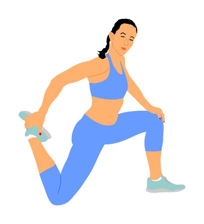 Fitness woman instructor exercise on training in gym vector. Losing weight, bodybuilder. Personal trainer workout. Fit sport lady. Handsome girl stretching and worming up. Female athlete skill.