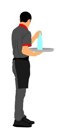 Professional waiter holding tray with order drinks for guests vector. Servant in restaurant taking orders. Worker in pub serve food and drinks for client. Barman welcomes guest Cocktails and beverage. Stock Illustratie