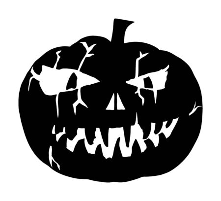 Halloween pumpkin vector silhouette isolated on white background. Scary face laughing. Happy Jack O Lantern. Grinning smile Halloween pumpkin face emotion. Spooky head squash with devil smile.