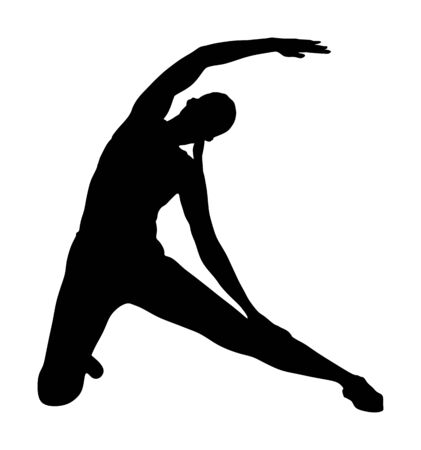 Fitness woman instructor exercise on training in gym vector silhouette. Losing weight, bodybuilder. Personal trainer workout. Fit sport lady. Handsome girl stretching worming up. Female athlete skill.
