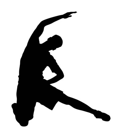 Fitness man instructor exercise on training in gym vector silhouette. Losing weight, bodybuilder. Personal trainer workout. Fit sport boy. Handsome sportsman stretching worming up. Male athlete skill.
