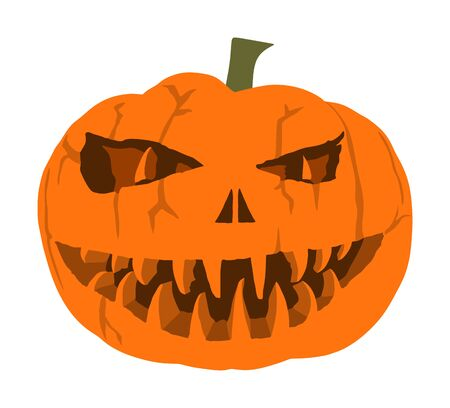 Halloween pumpkin vector isolated on white background Scary face laughing. Happy Jack O Lantern. grinning smile Halloween pumpkin face emotion. Spooky head squash with devil smile.