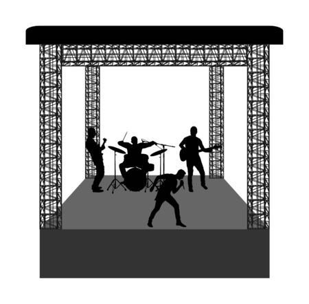 Rock and roll band on stage vector silhouette. Musician play bass guitar and drums. Super star music concert show. Great event for fan supporters. Drummer and guitarists players. Popular singer artist