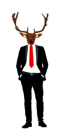 Elegant macho man with deer head over manager face. Confident leader standing. Buck businessman vector illustration. Handsome man in black suite with hands in pockets. Animal face. Stock Illustratie