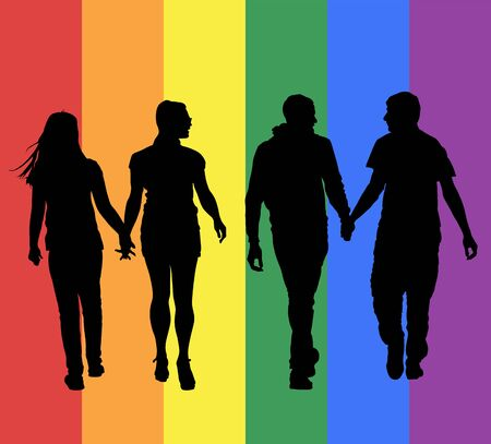 Two homosexual boys walking and hand holding vector silhouette. Gay couple tenderness in public. Hand to hand closeness, man love male. Gay pride rights. Lesbian couple woman love girl. Discrimination