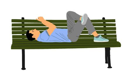 Relaxed lazy man lying down on bench in park with mobile phone vector isolated. Tired boy on pause after job. Outdoor enjoy in rest. Urban lazy boy ordering fast food by smart phone application.