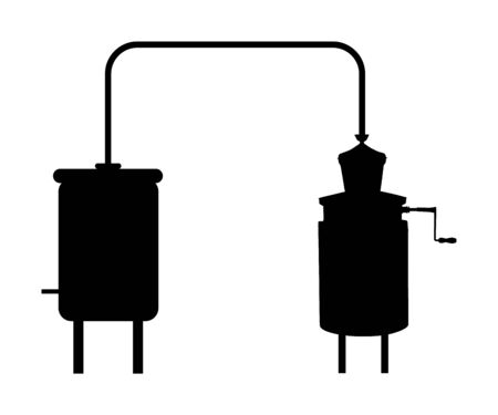 Vector silhouette of alembic apparatus for distill essential oils and alcoholic beverages. Distillery for whiskey or brandy production, alcohol distillation process. Alcohol distilling machine symbol Иллюстрация