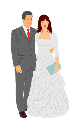 Groom and bride wedding day, in dress and suit vector illustration. Wedding couple. Happy bride and groom on ceremony. Just married couple in love. Red carpet quest on vip event. Lady and gentleman.