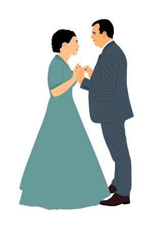 Groom and bride wedding day, in dress and suit vector illustration. Wedding couple. Happy bride and groom on ceremony. Just married couple in love. Elegant people dancing waltz on party celebration.
