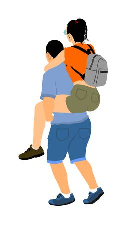 Boy carrying girl on the back vector illustration isolated on white background. Funny game between close friends. Couple in love funny situation. Closeness and tenderness. Boyfriend helps girlfriend. Stock Illustratie