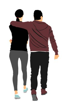 Girlfriend and boyfriend hugging on date vector. Love concept. Boy and girl closeness vector. Togetherness and tenderness. Sporty couple in love hug. Romance between woman and man. Elegant sport lady.