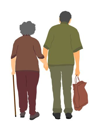 Happy elderly seniors couple holding hands vector isolated on white . Old man person together walking with stick. Mature old people active life. Grandfather and grandmother in love. Health care. Stock Illustratie