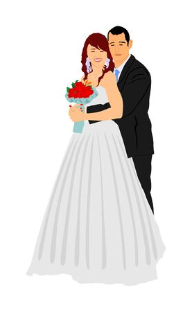 Groom and bride on wedding day in dress and suit vector illustration. Wedding couple. Happy bride and groom on ceremony. Just married couple in love. Smiling bride  with bouquet of flowers in hands.