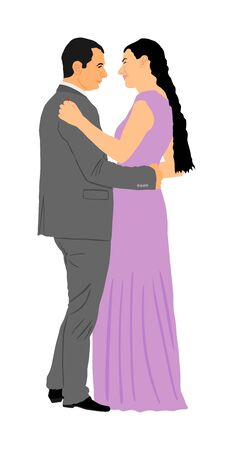 Groom and bride wedding day in dress and suit vector illustration. Wedding couple. Happy bride and groom on ceremony. Just married couple in love kissing. Elegant people dancing waltz on party.