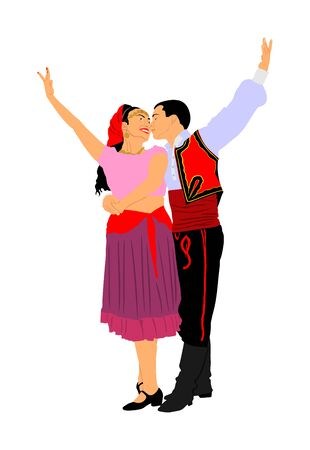 Couple in love kissing and dancing in folklore traditional dresses vector isolated on white. Balkan Dancers, folk dance in East Europe. Closeness in public. Boy kiss girl, tenderness. Balkan culture. Stock Illustratie