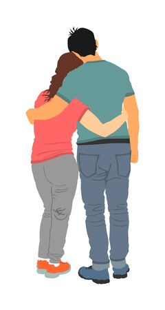 Young hugged couple in love vector. Happy lovers hugging. Boyfriend and girlfriend in hug. Closeness and tenderness on first date. Woman and man stick together. Emotional people kiss, boy kissing girl