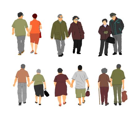 Happy elderly seniors couples holding hands vector isolated on white . Old man person together walking without stick. Mature old people active life. Grandfather and grandmother in love. Health care.