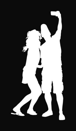 Man taking selfie picture vector silhouette illustration isolated on black background. taking selfie - hand hold mobile phone. Girlfriend and boyfriend couple in love smiling on phone camera selfie.