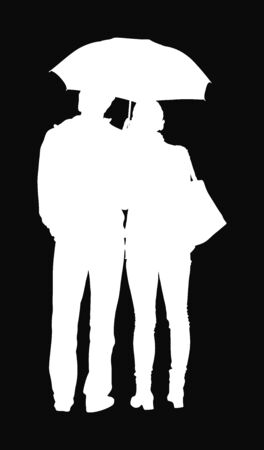 Couple in love on rain under umbrella vector silhouette. Happy time for loving couple. Girlfriend and boyfriend closeness. Successful relationship. Thinking about together life. Waiting taxi or bus.