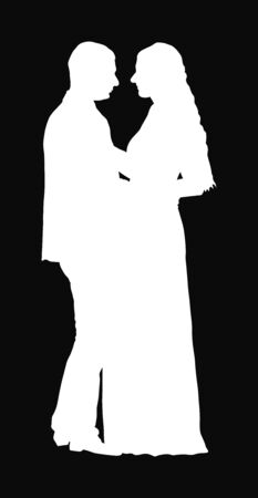Groom and bride wedding day in dress and suit vector silhouette Wedding couple. Happy bride and groom on ceremony. Just married couple in love kissing. Elegant people dancing waltz on party.