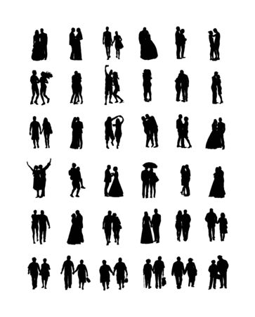 Couple in love silhouette vector big collection. Woman and man in love. Girl and boy dancing. Wedding couple, bride and groom ceremony. Senior people closeness. All generations family people set.