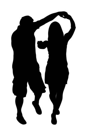 Dancer couple in love vector silhouette. Greek Evzone dancing isolated on white. Traditional folk dance. Balkan Greece folklore. Sirtaki, syrtaki . People on wedding ceremony.  Happy man and woman fun 일러스트