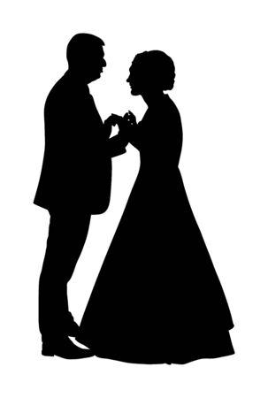 Hochzeitstag des Bräutigams und der Braut, im Vektorschattenbild des Kleides und des Anzugs. Brautpaar. Glückliche Braut und Bräutigam bei der Zeremonie. Gerade verliebtes Ehepaar. Elegante Leute tanzen Walzer auf Partyfeier. Vektorgrafik
