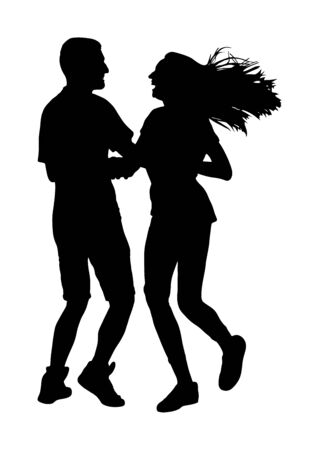 Petite amie et petit ami couple amoureux silhouette vecteur isolé sur blanc. Couple de danseurs. Femme et homme souriants. Fille et garçon riant en jouant à la fête. Romance de gens heureux. Amusement de plage d'heure d'été.