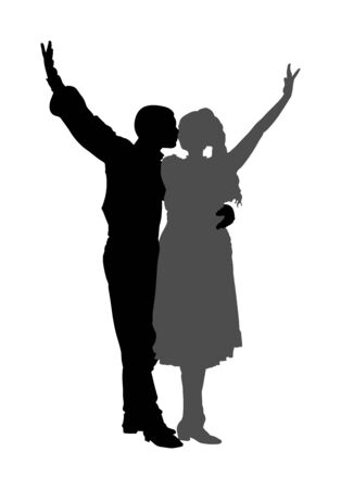 Couple in love kissing and dancing in folklore traditional dresses vector silhouette isolated on white. Balkan Dancers, folk dance in East Europe. Closeness in public. Boy kissing girl. Balkan culture