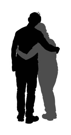 Young hugged couple in love vector silhouette. Happy lovers hugging. Boyfriend and girlfriend in hug. Closeness and tenderness on date. Woman and man together. Emotional people, boy kissing girl.