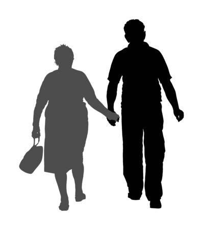 Happy elderly seniors couple holding hands vector silhouette isolated on white . Old man person together walking without stick. Mature old people active life. Grandfather and grandmother in love. Imagens - 134477765