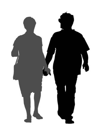 Happy elderly seniors couple holding hands vector silhouette isolated on white . Old man person together walking without stick. Mature old people active life. Grandfather and grandmother in love.