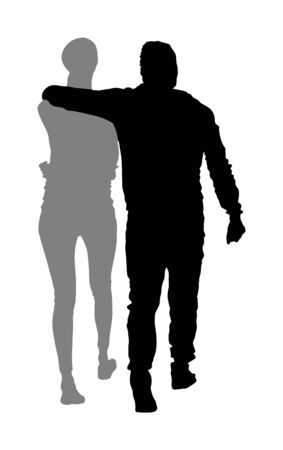Girlfriend and boyfriend hugging on date vector silhouette. Love. Boy and girl closeness. Togetherness and tenderness. Sporty couple in love hug. Romance between woman and man. Elegant sport lady.