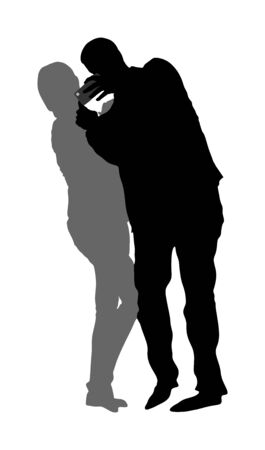 Girlfriend and boyfriend couple in love  taking selfie picture vector silhouette isolated on white. Hand hold mobile phone. Woman and man smiling on camera selfie. Fan with popular super star. 일러스트