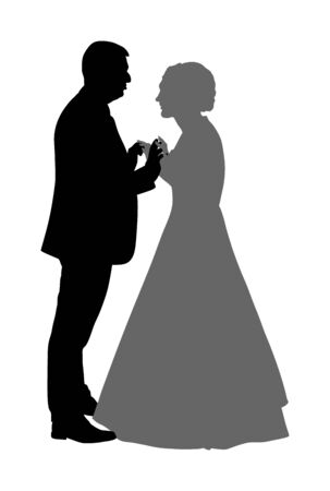 Groom and bride wedding day, in dress and suit vector silhouette. Wedding couple. Happy bride and groom on ceremony. Just married couple in love. Elegant people dancing waltz on party celebration. 일러스트