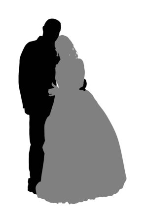 Groom and bride wedding day, in dress and suit vector silhouette. Wedding couple. Happy bride and groom on ceremony. Just married couple in love. Red carpet quest on vip event. Lady and gentleman.