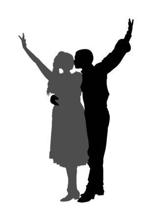 Couple in love kissing and dancing in folklore traditional dresses vector silhouette isolated on white. Balkan Dancers, folk dance in East Europe. Closeness in public. Boy kiss girl. Balkan culture.