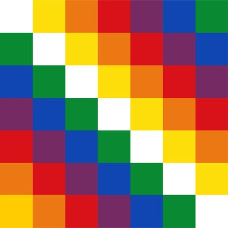 Vector flag of Bolivia isolated. Symbol of Vifala indigenous people. Official Bolivia flag.