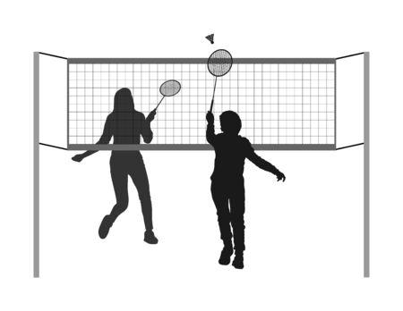 Felice ragazza e ragazzo che giocano a badminton silhouette vettoriali isolati su sfondo bianco. Divertimento sportivo degli amici. Giocatori di badminton in azione. Attività all'aperto per bambini in spiaggia. Picnic relax dopo barbecue Vettoriali