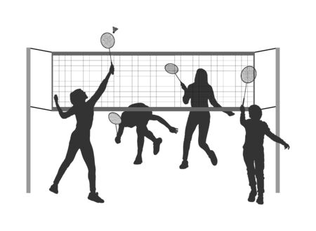 Girls and boys playing badminton vector silhouette isolated on white