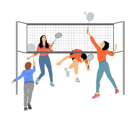 Girls and boys playing badminton  isolated on white Illusztráció