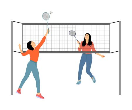 Happy sport girls playing badminton vector illustration isolated on white background. Friends sport fun. Badminton players in action. Woman outdoor beach activity. Picnic lady relaxation after barbecue Illustration