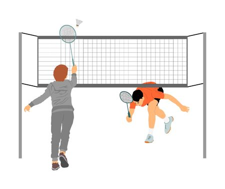 Happy sport boys playing badminton vector illustration isolated on white background. Friends sport fun. Badminton players in action. Man outdoor beach activity. Picnic kids relaxation after barbecue Illustration